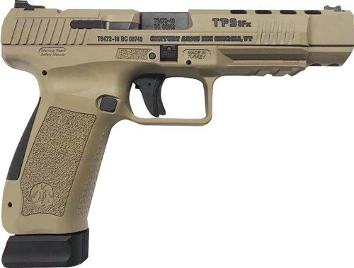 "Canik TP9SFX 9mm 5.25"" Desert Tan Fiber Optic/Warren Tactical S"