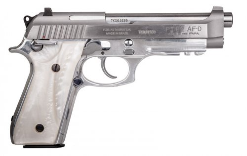 """Taurus - PT92, 9mm, 5"""" Barrel, Fixed Sights, Stainless, White P"""